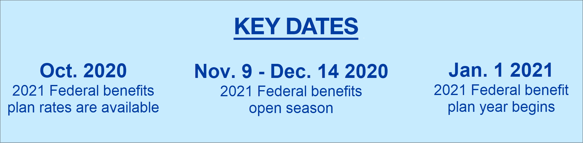 Key Dates  October 2019 2020 FEDVIP plan rates available